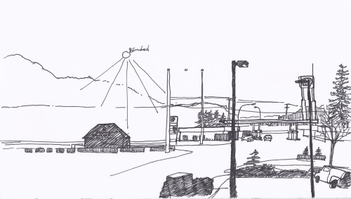 During my time in Mt. Vernon, I only had the chance to sketch this view of Highway 99 and a gas station next to my motel. This was even more difficult when the sun rose, blocking half the view.