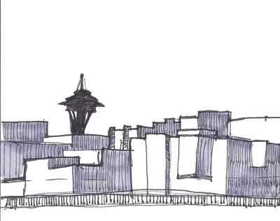The Space Needle peeks over the Belltown Neighborhood. This sketch was drawn from Pier 63/64 on the Seattle Waterfront.