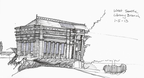 My first library sketch is of the historic West Seattle Branch Library. The West Seattle Branch Library was funded by Andrew Carnegie's philanthropic efforts, opening in 1910.